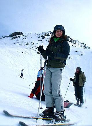 Abi Chapman skiing on holiday